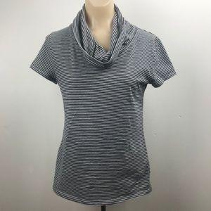 Ann Taylor M Shirt, Black and Gray Cowl Neck